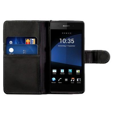 Microsonic Cüzdanlı Deri Sony Xperia Z2 Kılıf Siyah Cep Telefonu Kılıfı