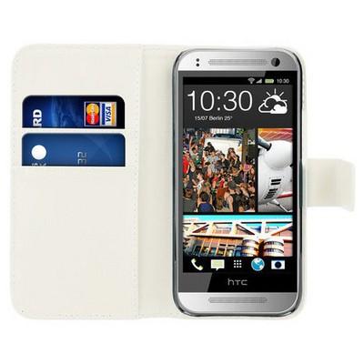 Microsonic Cüzdanlı Deri Htc One Mini 2 Kılıf Beyaz Cep Telefonu Kılıfı