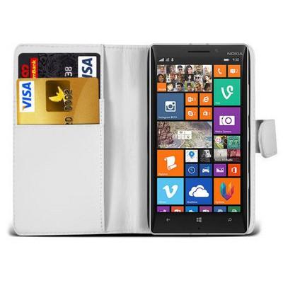 Microsonic Cüzdanlı Deri Nokia Lumia 930 Kılıf Beyaz Cep Telefonu Kılıfı
