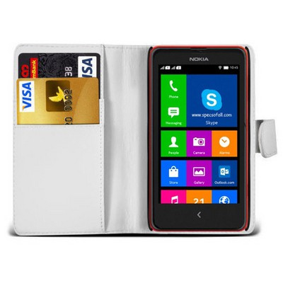 Microsonic Cüzdanlı Deri Nokia Xl Kılıf Beyaz Cep Telefonu Kılıfı