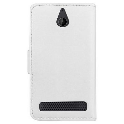 Microsonic Cüzdanlı Deri Sony Xperia E1 Kılıf Beyaz Cep Telefonu Kılıfı