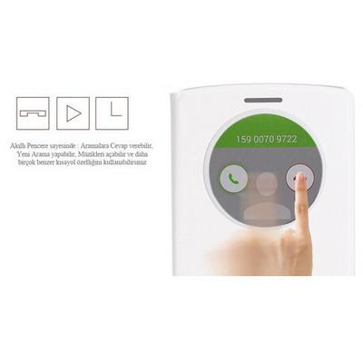 Microsonic View Cover Delux Kapaklı Lg G3 Kılıf Akıllı Uyku Modlu Beyaz Cep Telefonu Kılıfı