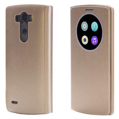 Microsonic View Cover Delux Kapaklı Lg G3 Kılıf Akıllı Uyku Modlu Sarı Cep Telefonu Kılıfı