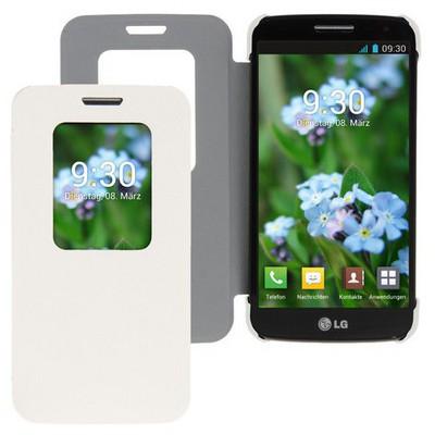 Microsonic View Cover Delux Kapaklı Lg G2 Mini Kılıf Beyaz Cep Telefonu Kılıfı