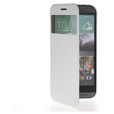 Microsonic View Cover Delux Kapaklı Htc One Mini 2 Kılıf Beyaz Cep Telefonu Kılıfı