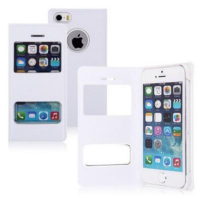Microsonic Dual View Cover Delux Kapaklı Iphone 5s Kılıf Beyaz Cep Telefonu Kılıfı