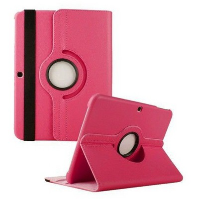 Microsonic 360 Rotating Stand Deri Samsung Galaxy Tab4 10.1 Inch T530 Kılıf Pembe Tablet Kılıfı