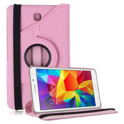 Microsonic 360 Rotating Stand Deri Samsung Galaxy Tab4 7 Inch T230 Kılıf Pembe Tablet Kılıfı