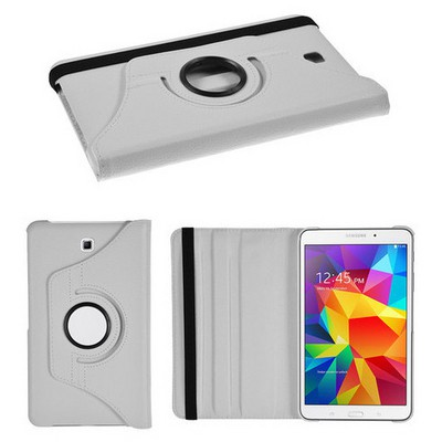 Microsonic 360 Rotating Stand Deri Samsung Galaxy Tab4 8 Inch T330 Kılıf Beyaz Tablet Standı