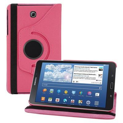Microsonic 360 Rotating Stand Deri Samsung Galaxy Tab4 8 Inch T330 Kılıf Pembe Tablet Standı
