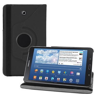 Microsonic 360 Rotating Stand Deri Samsung Galaxy Tab4 8 Inch T330 Kılıf Siyah Tablet Kılıfı