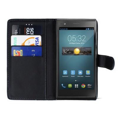Microsonic Cüzdanlı Deri Turkcell T50 Kılıf Siyah Cep Telefonu Kılıfı