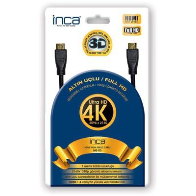 Inca IHS-05 5 Metre 4K Altın Uçlu Ultra HD 3D HDMI Speed 0 HDMI Kablolar
