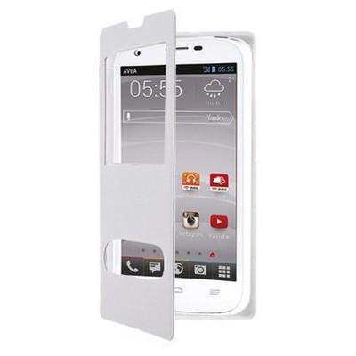 Microsonic Dual View Cover Delux Kapaklı Avea Intouch3 Large Kılıf Beyaz Cep Telefonu Kılıfı