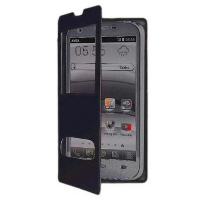 Microsonic Dual View Cover Delux Kapaklı Avea Intouch3 Large Kılıf Siyah Cep Telefonu Kılıfı