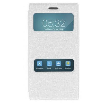 Microsonic Dual View Cover Delux Kapaklı Turkcell T50 Kılıf Beyaz Cep Telefonu Kılıfı