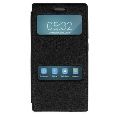Microsonic Dual View Cover Delux Kapaklı Turkcell T50 Kılıf Siyah Cep Telefonu Kılıfı