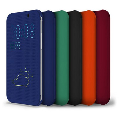 Microsonic View Cover Dot Delux Kapaklı Htc One M8 Kılıf Akıllı Modlu Siyah Cep Telefonu Kılıfı