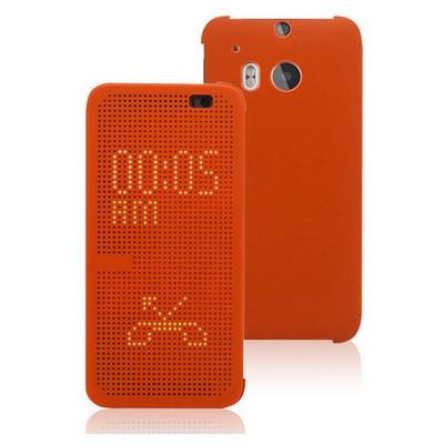 Microsonic View Cover Dot Delux Kapaklı Htc One M8 Kılıf Akıllı Modlu Turuncu Cep Telefonu Kılıfı