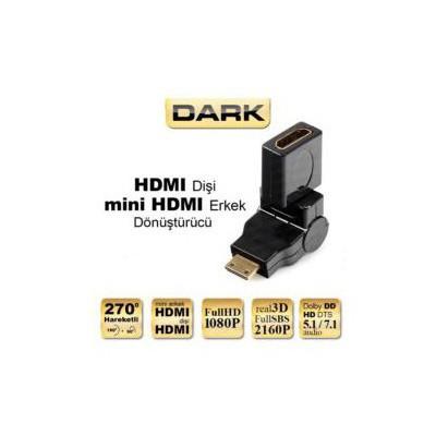 Dark Dk-hd-afxmm270 270 Derece Dönebilen Hdmı Dişi - Mini Hdmı Erkek Dönüştürücü Soket Adaptör / Dönüştürücü