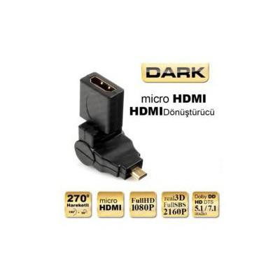 Dark Dk-hd-ahdmıxm270 270 Derece Dönebilen Hdmı Dişi - Micro Hdmı Erkek Dönüştürücü Soket Adaptör / Dönüştürücü