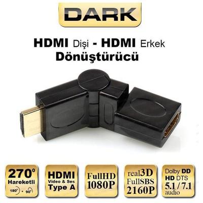 Dark HDMI 270° Derece Dönüştürücü Dirsek (HDMI Erkek - HDMI Dişi) - DK-HD-AMXF270 HDMI Kablolar