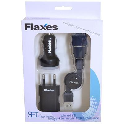 Flaxes Fts-501s Flaxes Fts-501b 3lü Set Araç 5v 2,1a-ev 5v 1a Çok Amaçlı Uç Siyah Cep Telefonu Aksesuarı