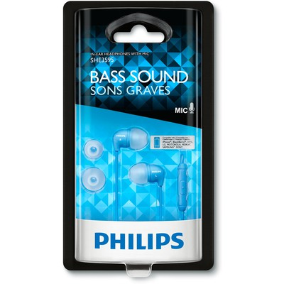 Philips SHE3595BL 1,2m Kablo Uzunluğunda Kulakiçi Kulaklık Mavi Renk Kulak İçi Kulaklık