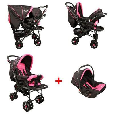 Mcrae Mc 750t Comfort Travel Sistem Çift Yönlü Lux Bebek Arabası - Pembe Travel Sistem Bebek Arabası