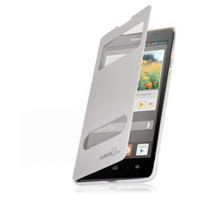Microsonic Dual View Delux Kapaklı Kılıf Huawei Ascend G700 Beyaz Cep Telefonu Kılıfı