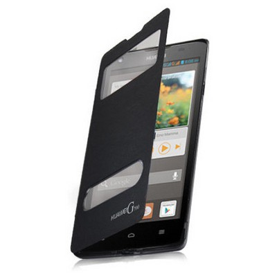 Microsonic Dual View Delux Kapaklı Kılıf Huawei Ascend G700 Siyah Cep Telefonu Kılıfı