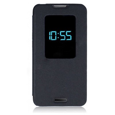 Microsonic View Cover Delux Kapaklı Lg L70 Kılıf Siyah Cep Telefonu Kılıfı