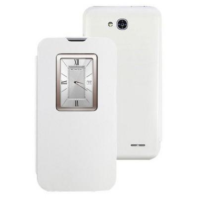 Microsonic View Cover Delux Kapaklı Lg L90 Kılıf Beyaz Cep Telefonu Kılıfı