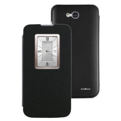 Microsonic View Cover Delux Kapaklı Lg L90 Kılıf Siyah Cep Telefonu Kılıfı