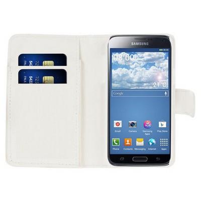 Microsonic Cüzdanlı Deri Samsung Galaxy S5 Mini Kılıf Beyaz Cep Telefonu Kılıfı