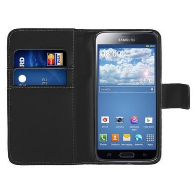 Microsonic Cüzdanlı Deri Samsung Galaxy S5 Mini Kılıf Siyah Cep Telefonu Kılıfı