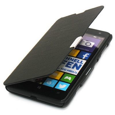 Microsonic Mıknatıslı Ultra Thin Kapaklı Nokia Lumia 625 Kılıf Siyah Cep Telefonu Kılıfı