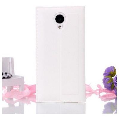 Microsonic Full View Delux Kapaklı Kılıf General Mobile Discovery Elite Beyaz Cep Telefonu Kılıfı