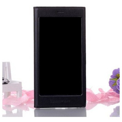 Microsonic Full View Delux Kapaklı Kılıf General Mobile Discovery Elite Siyah Cep Telefonu Kılıfı