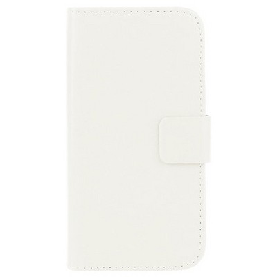 Microsonic Cüzdanlı Deri Alcatel One Touch Idol 2 Kılıf Beyaz Cep Telefonu Kılıfı