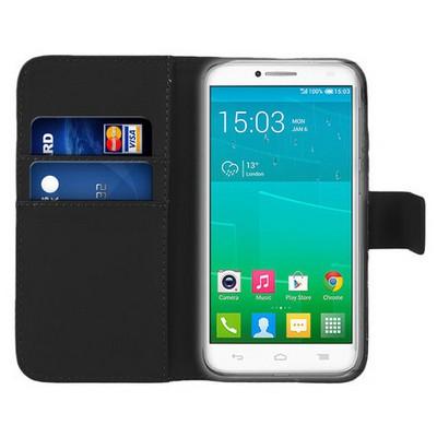 Microsonic Cüzdanlı Deri Alcatel One Touch Idol 2 Kılıf Siyah Cep Telefonu Kılıfı