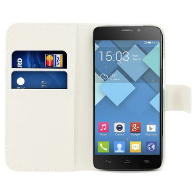 Microsonic Cüzdanlı Deri Alcatel One Touch Idol X Kılıf Beyaz Cep Telefonu Kılıfı