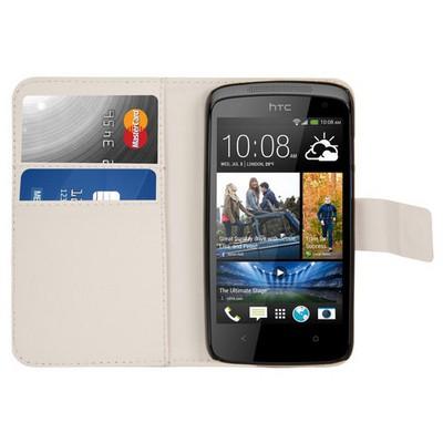 Microsonic Cüzdanlı Deri Htc Desire 500 Kılıf Beyaz Cep Telefonu Kılıfı
