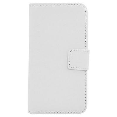 Microsonic Cüzdanlı Standlı Deri Kılıf - Htc One Mini M4 Beyaz Cep Telefonu Kılıfı