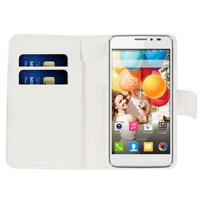 Microsonic Cüzdanlı Deri General Mobile Discovery 2 Kılıf Beyaz Cep Telefonu Kılıfı