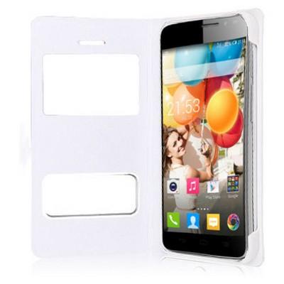 Microsonic Dual View Delux Kapaklı Kılıf General Mobile Discovery 2 Beyaz Cep Telefonu Kılıfı