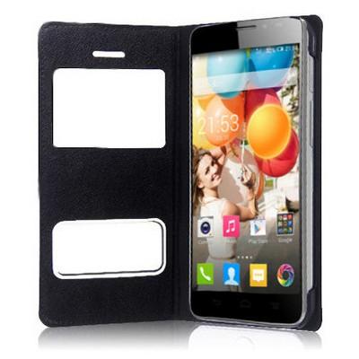 Microsonic Dual View Delux Kapaklı Kılıf General Mobile Discovery 2 Siyah Cep Telefonu Kılıfı