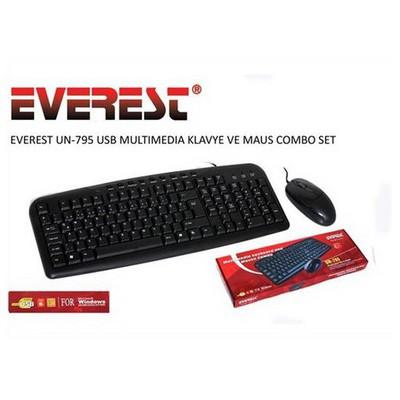 Everest Un-795 Siyah Usb Q Multimedia  + Mouse Set Klavye
