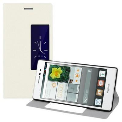 Microsonic View Cover Delux Kapaklı Huawei P7 Kılıf Akıllı Modlu Beyaz Cep Telefonu Kılıfı