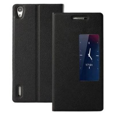 Microsonic View Cover Delux Kapaklı Huawei P7 Kılıf Akıllı Modlu Siyah Cep Telefonu Kılıfı
